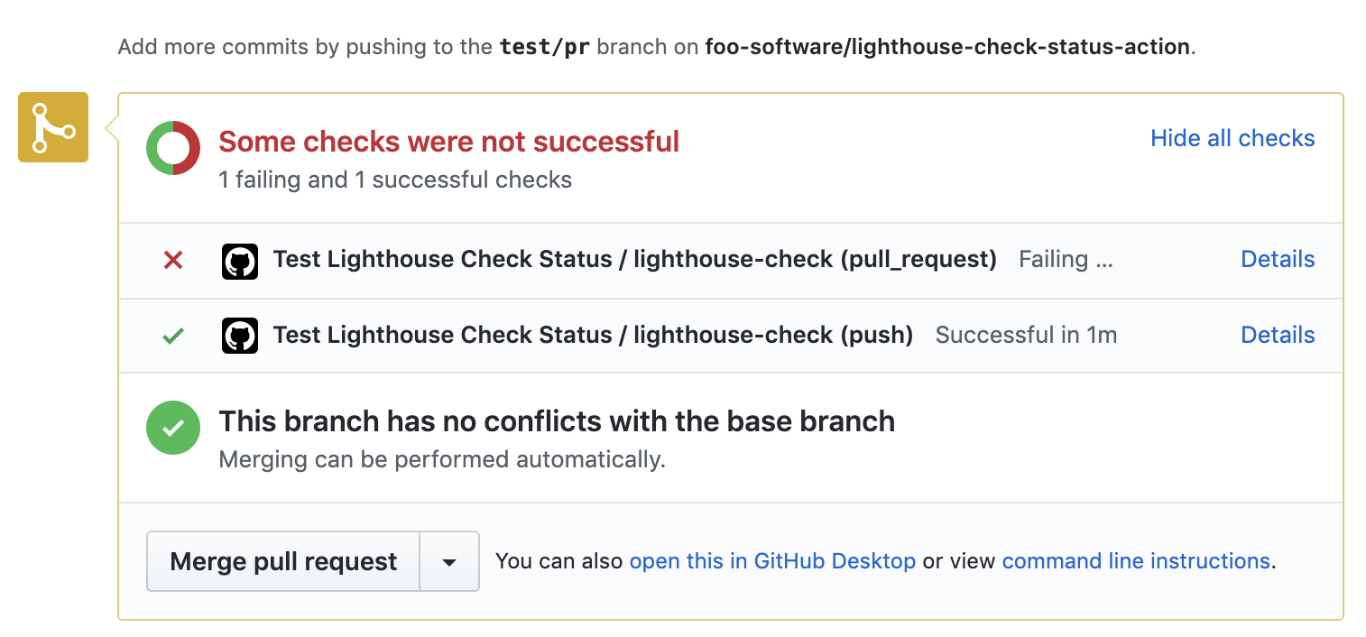 Lighthouse Check GitHub action fail if scores don't meet minimum requirement on a PR